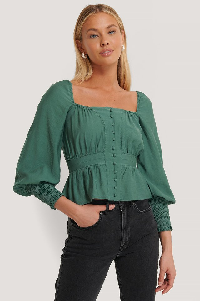 Puff Shoulder Smocked Arms Blouse Green
