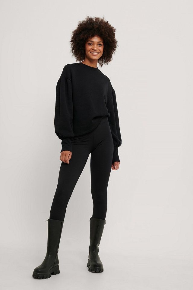 Puff Shoulder Sweatshirt Black