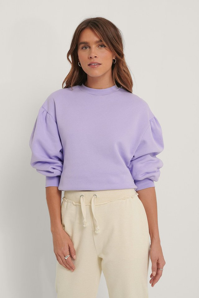 Puff Shoulder Sweatshirt Lilac