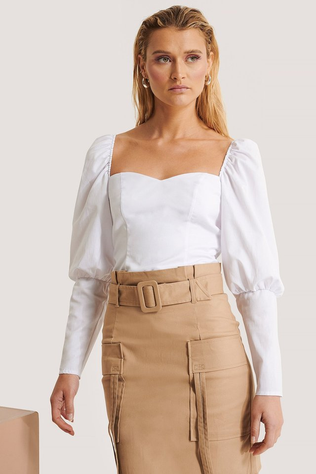 Puff Shoulder Top Offwhite
