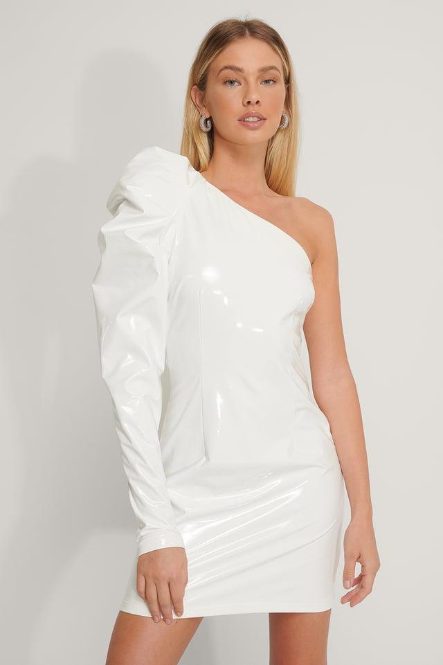 Puff Shoulder Vinyl Dress Off White