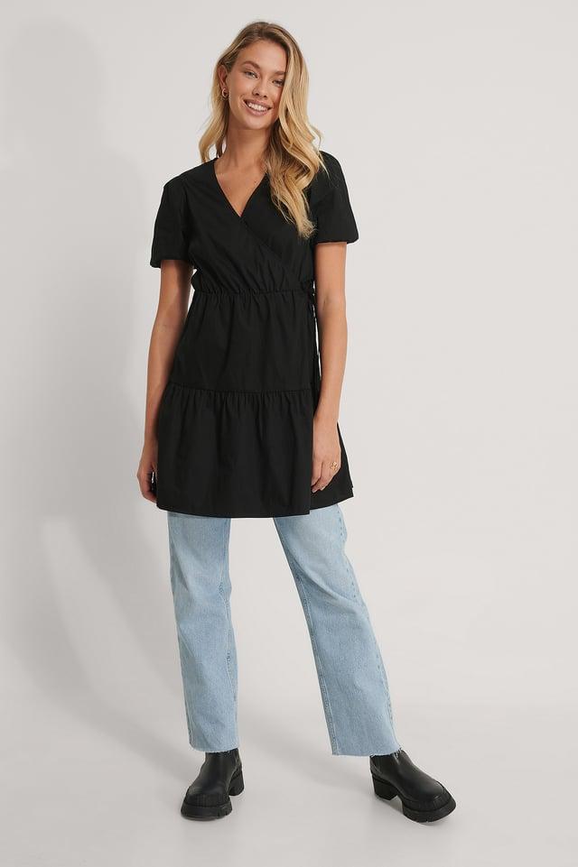 Black Kleid Mit Puffärmeln A-Linie