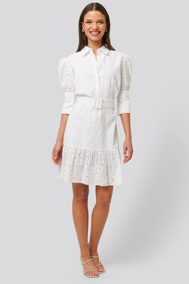 Puff Sleeve Anglaise Dress White