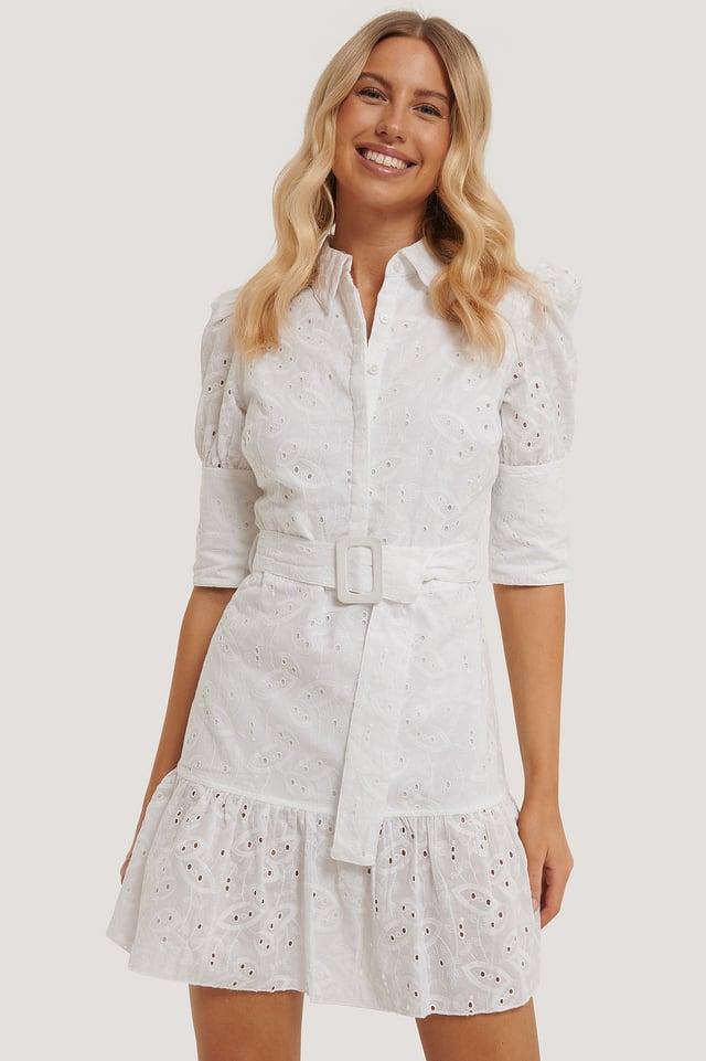 Puff Sleeve Anglaise Dress White