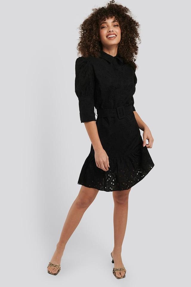 Puff Sleeve Anglaise Dress Black