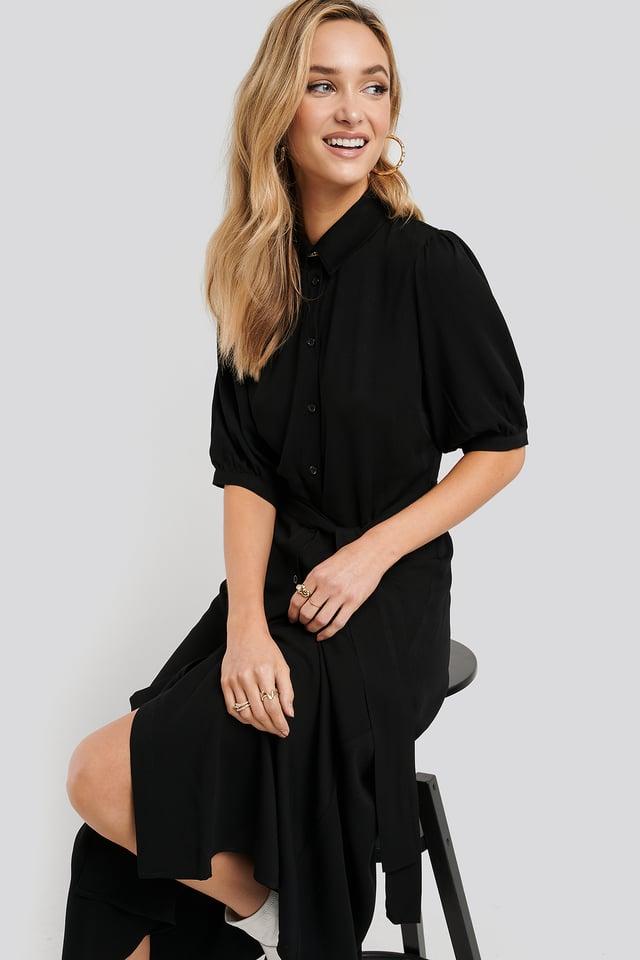 Puff Sleeve Belted Midi Dress Black