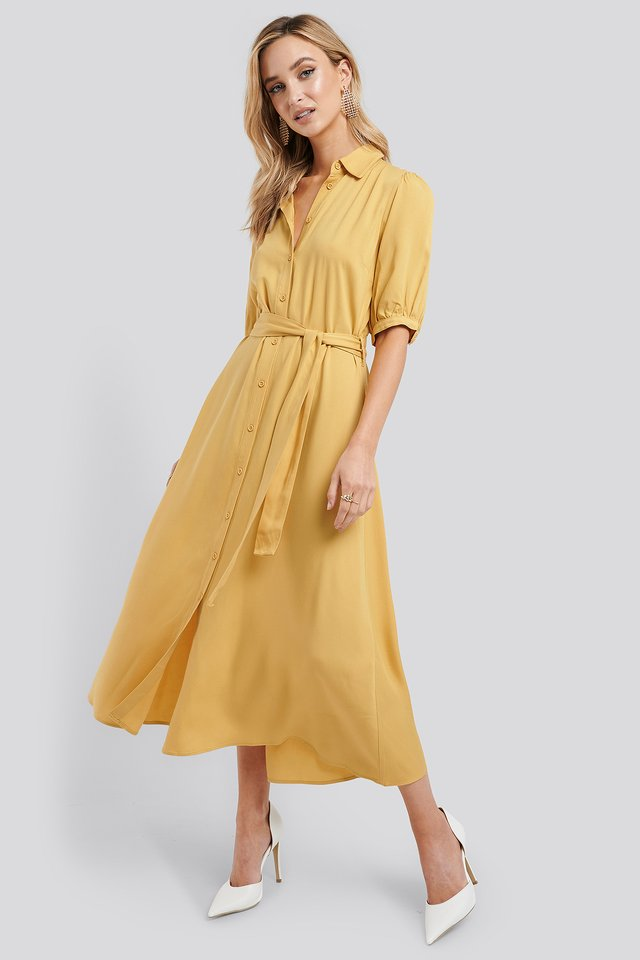Puff Sleeve Belted Midi Dress Yellow