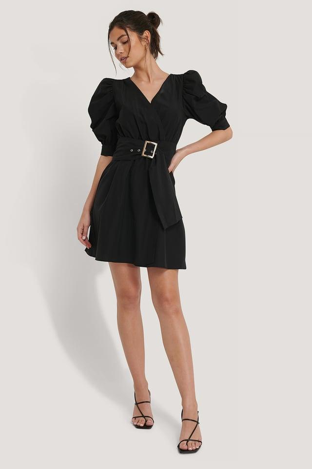 Black Puff Sleeve Belted Mini Dress