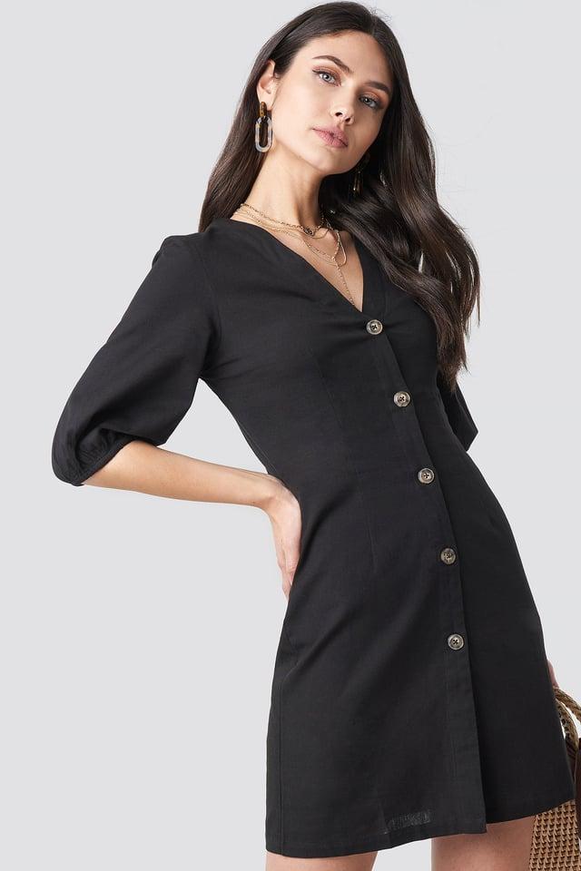 Puff Sleeve Button Up Dress Black
