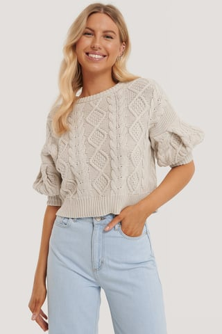 Beige Organic Puff Sleeve Cable Knitted Sweater
