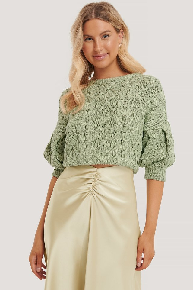 Organic Puff Sleeve Cable Knitted Sweater Green