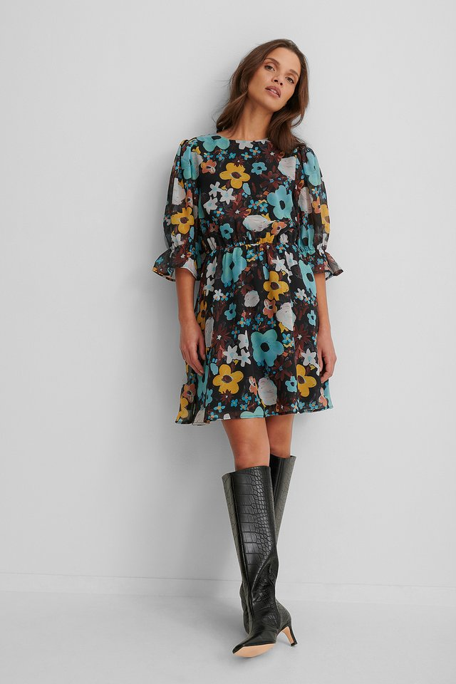 Puff Sleeve Chiffon Dress Black Flower