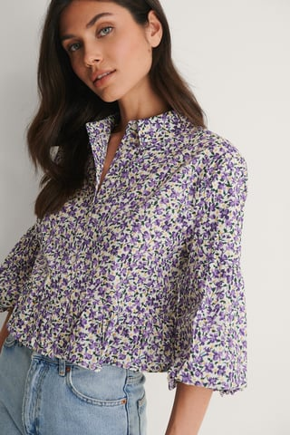 Lilac Flower Bluse Med Puffermer