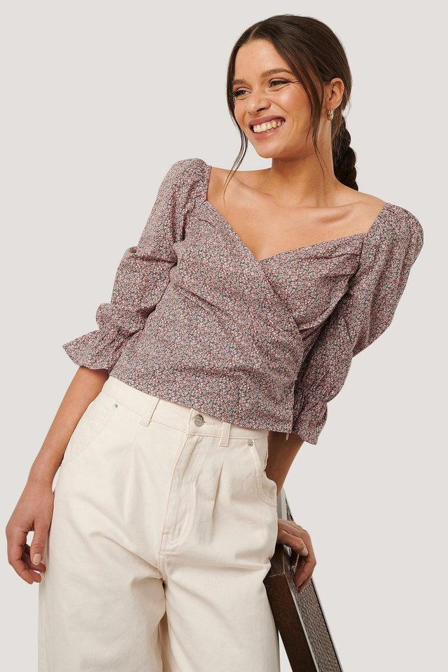 Puff Sleeve Cropped Blouse Pink Flower