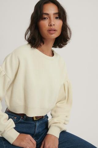 Off White Recyklingowany Krótki Dziergany Sweter Z Bufiastymi Rękawami