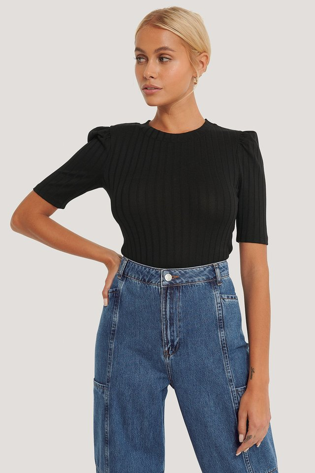 Puff Sleeve Cropped Ribbed Top Black