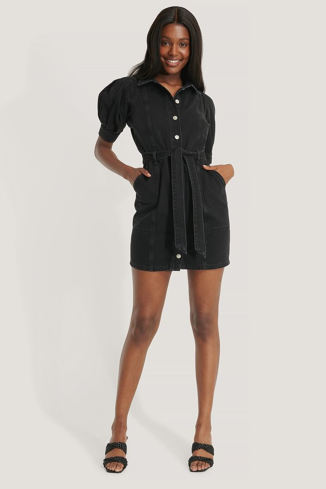 Black Puff Sleeve Denim Dress