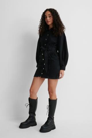 Black Ekologiczna Sukienka Denimowa Z Długimi Bufiastymi Rękawami