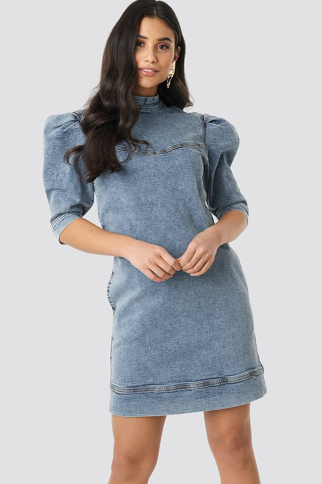 Puff Sleeve Denim Mini Dress Light Blue