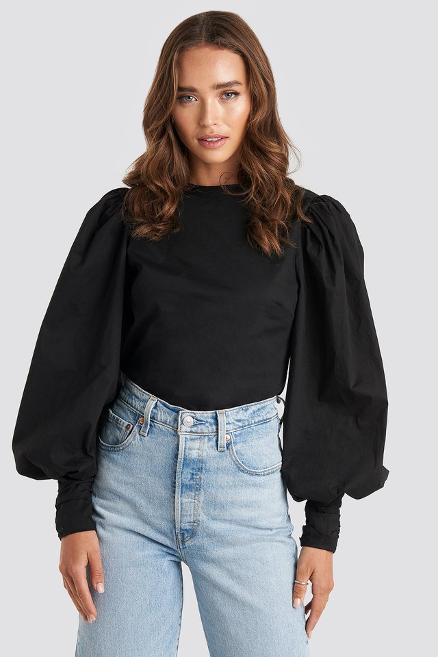 Black Puff Sleeve Fitted Top