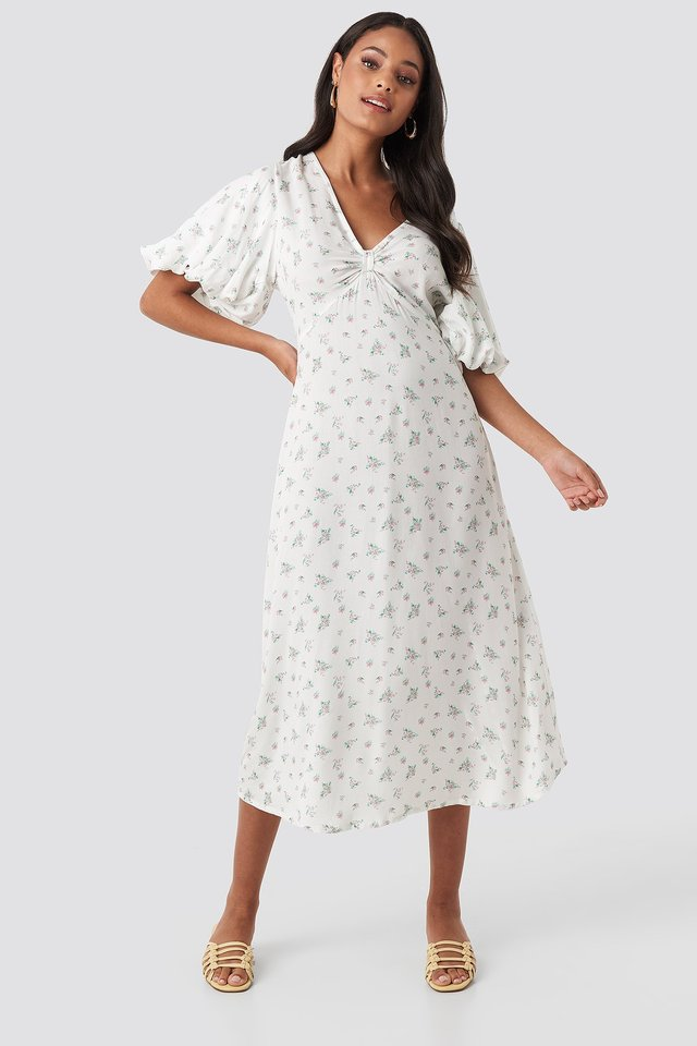 Puff Sleeve Floral Midi Dress Floral Print
