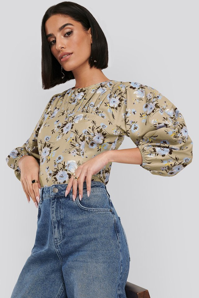 Puff Sleeve Gathered Neck Blouse Flower Print