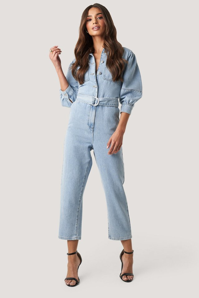 Puff Sleeve Jumpsuit Light Blue