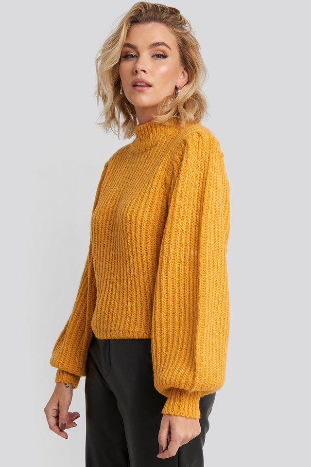 Puff Sleeve Knitted Sweater Mustard