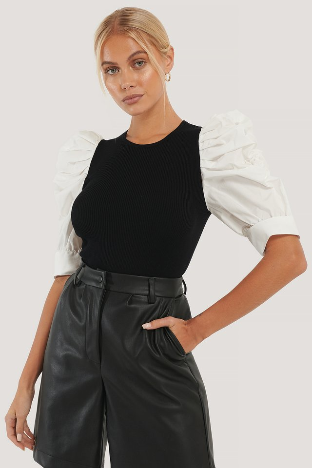 Puff Sleeve Knitted Top Black/White