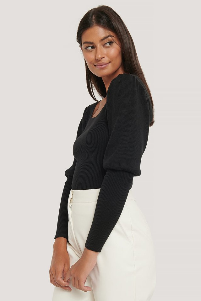 Puff Sleeve Knitted Top Black