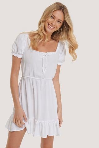 Optical White Puff Sleeve Mini Dress