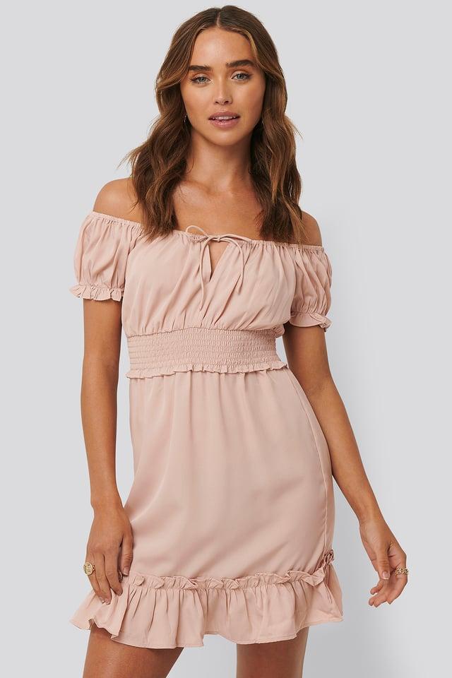 Puff Sleeve Mini Flounce Dress Dusty Pink