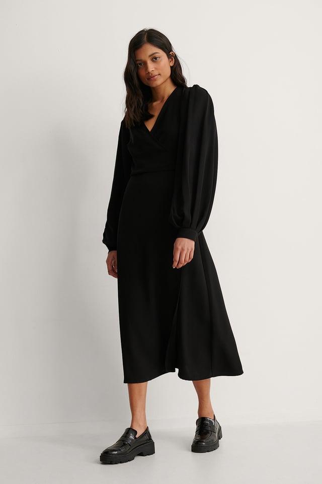 Black Puff Sleeve Overlap Dress