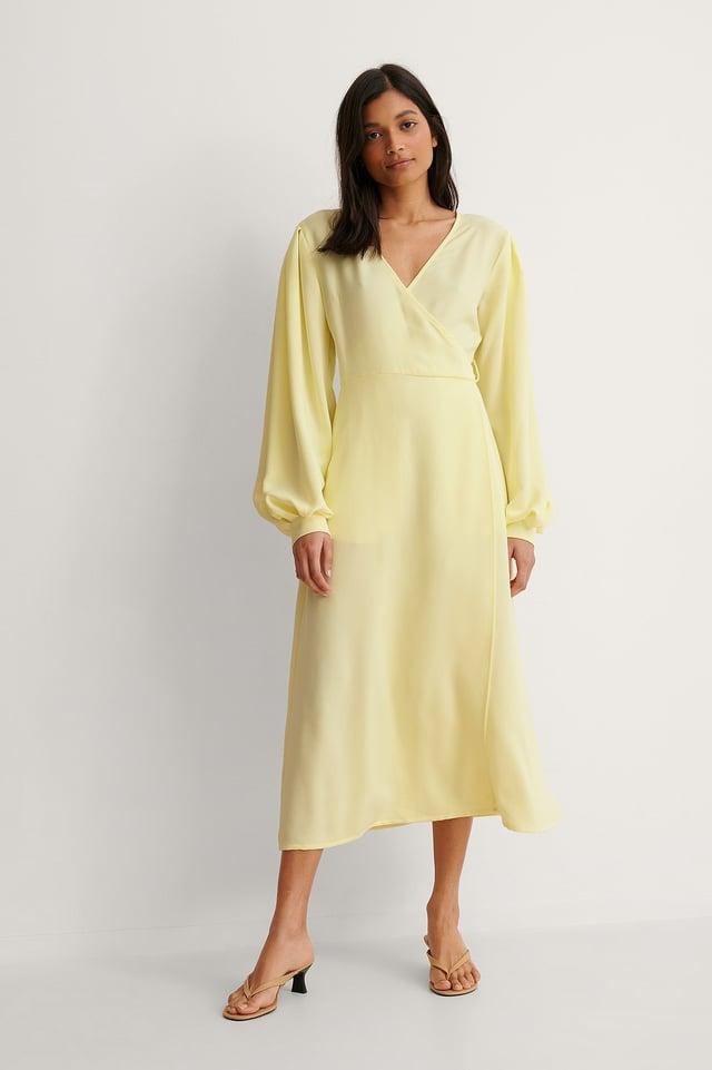 Yellow Puff Sleeve Overlap Dress