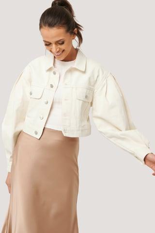 Eggshell Puff Sleeve Oversized Denim Jacket