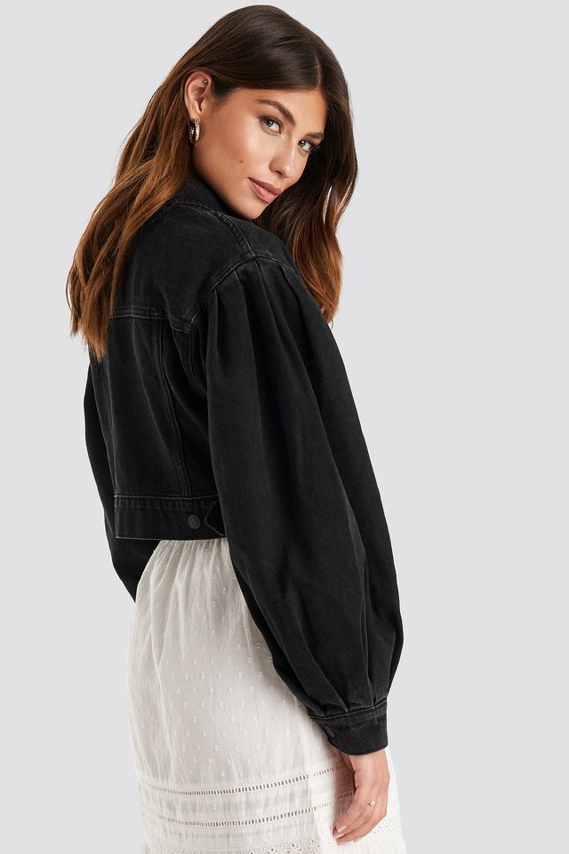Puff Sleeve Oversized Denim Jacket Black