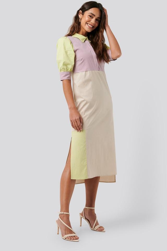 Multi Puff Sleeve Panel Dress