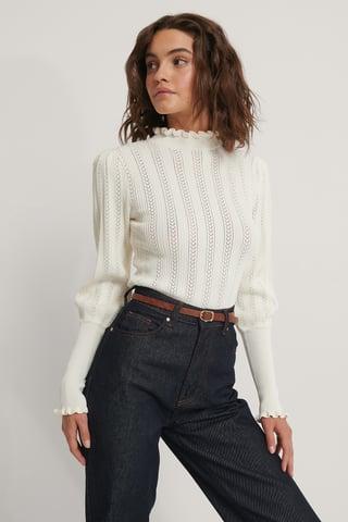 Offwhite Dziergany Sweter Z Wzorem I Bufiastymi Rękawami