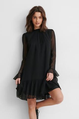 Black Puff Sleeve Pleated Chiffon Dress