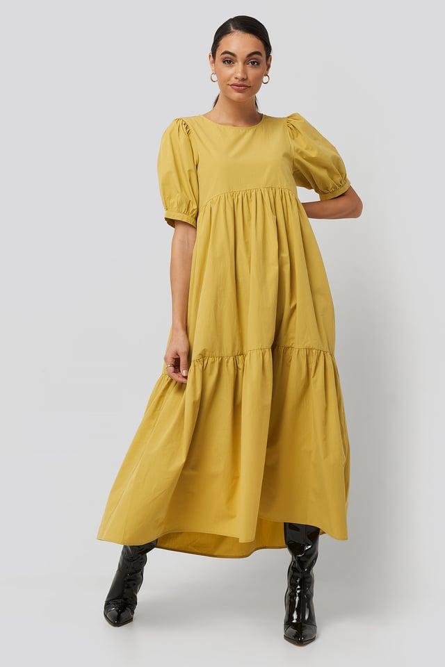 Yellow Puff Sleeve Pleated Tiered Midi Dress