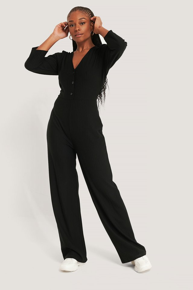 Puff Sleeve Ribbed Jumpsuit Black