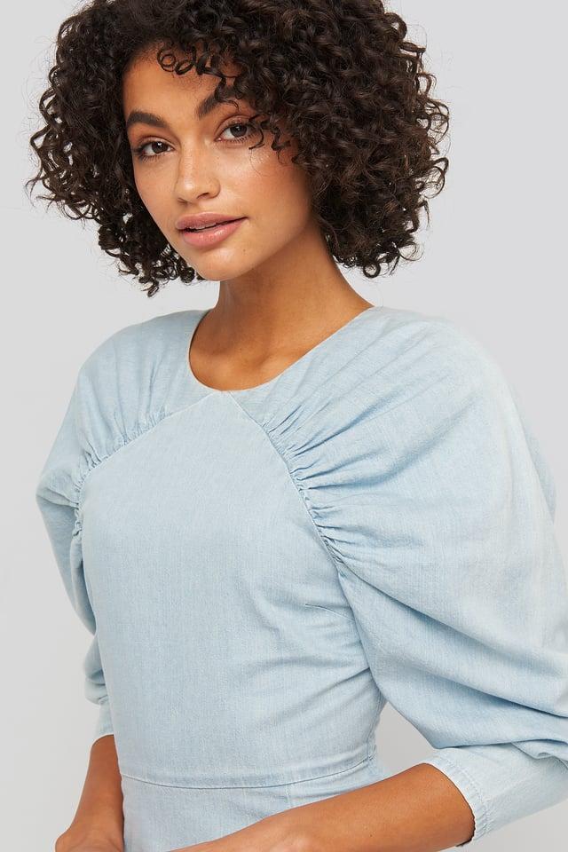 Light Blue Puff Sleeve Round Neck Mini Dress