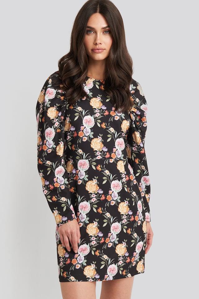 Puff Sleeve Round Neck Mini Dress Floral Print