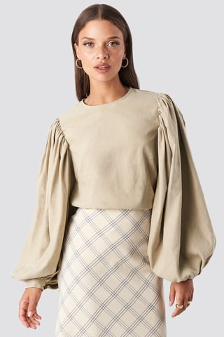 Beige Puff Sleeve Round Neck Top