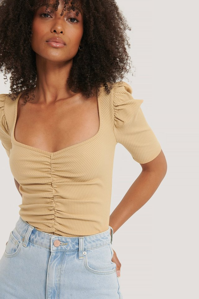 Puff Sleeve Ruched Top Light Beige