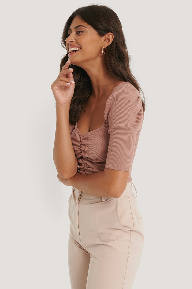 Puff Sleeve Ruched Top Dusty Dark Pink