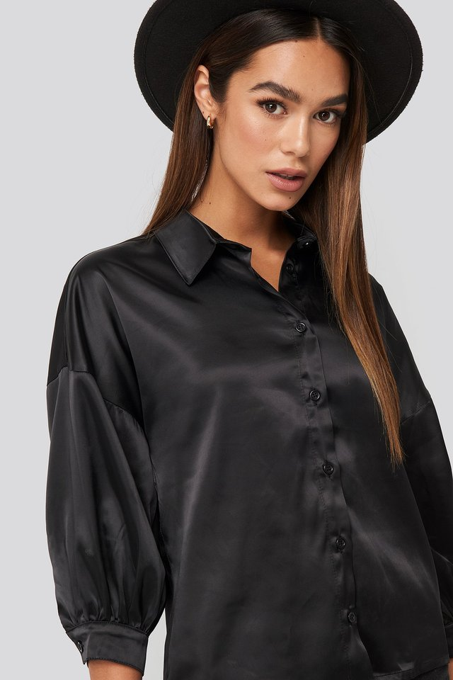 Puff Sleeve Satin Blouse Black