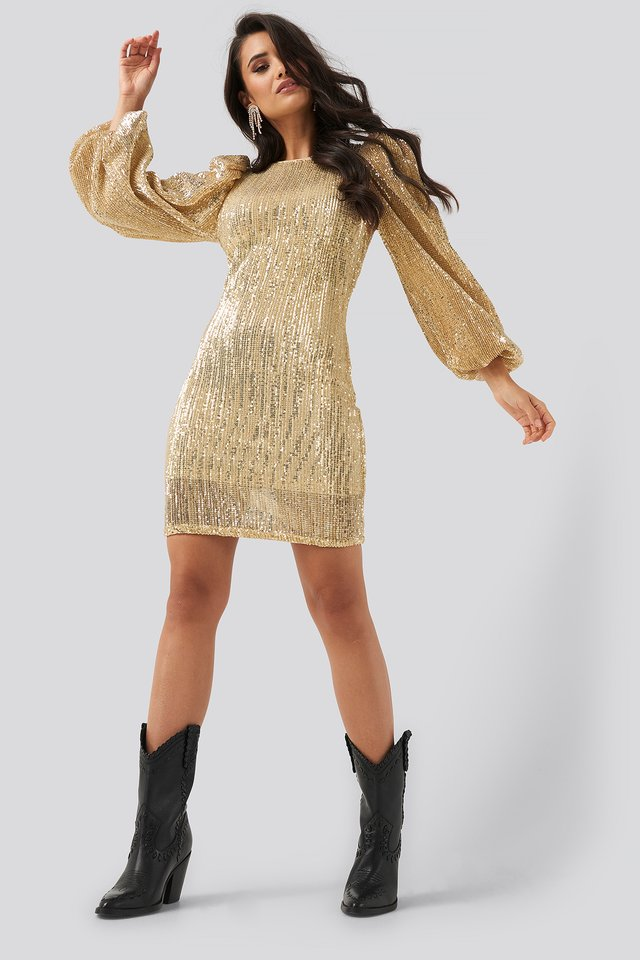 Puff Sleeve Sequin Mini Dress Gold