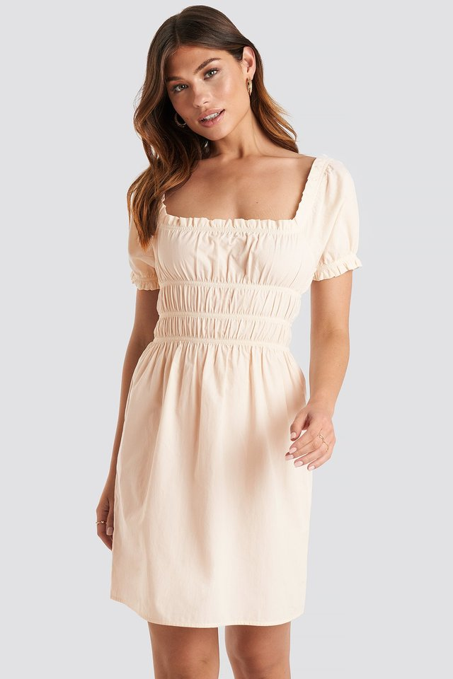 Beige Puff Sleeve Shirring Mini Dress
