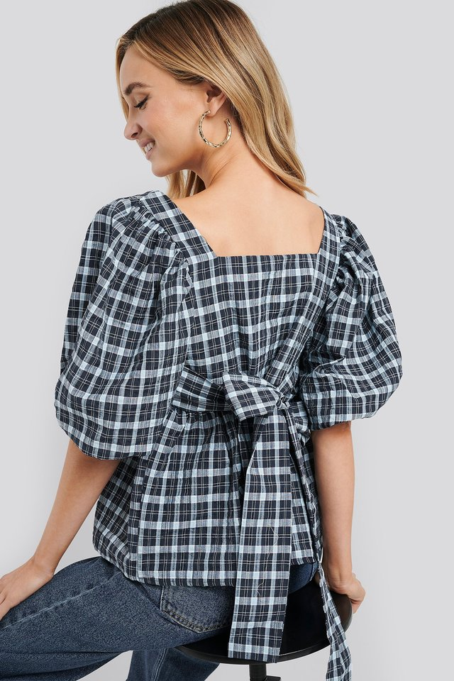 Blue Check Puff Sleeve Smock Blouse